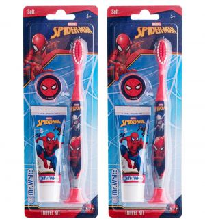 (BUNDLE OF 2) MR WHITE SPIDERMAN TRAVEL KIT TOOTHBRUSH WITH TOOTHPASTE 25ML