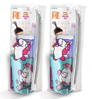 (BUNDLE OF 2) MR WHITE FLUFFY TRAVEL KIT TOOTHBRUSH WITH TOOTHPASTE 75ML