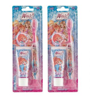 (BUNDLE OF 2) MR WHITE WINX TRAVEL KIT TOOTHBRUSH WITH TOOTHPASTE 25ML