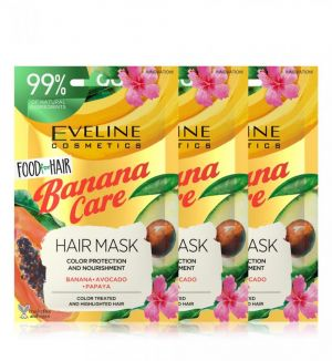(BUNDLE OF 3) EVELINE FOOD FOR HAIR BANANA CARE HAIR MASK 20ML COLOR TREATED HAIR