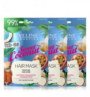 (BUNDLE OF 3) EVELINE FOOD FOR HAIR SWEET COCONUT HAIR MASK 20ML DRY & BRITTLE HAIR