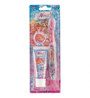 MR WHITE WINX TRAVEL KIT TOOTHBRUSH WITH TOOTHPASTE 25ML